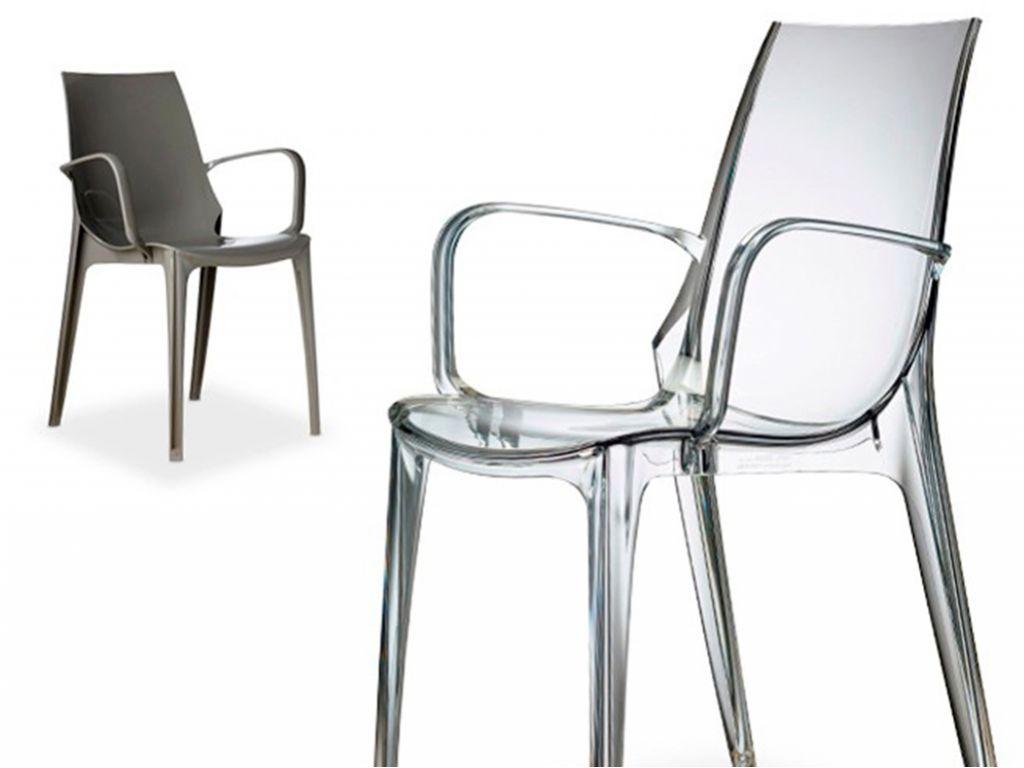 Sedia in policarbonato trasparente con braccioli u vm live